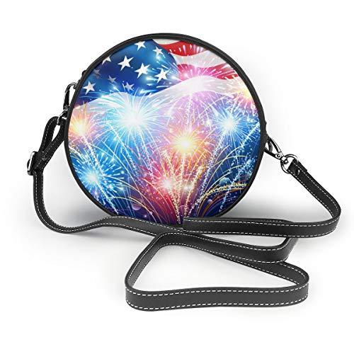 Banderas americanas con diseño de bandera de Estados Unidos con colores de vectores de fuegos artificiales, redondo, con cremallera, bolso de hombro, de piel suave, para mujeres personalizadas