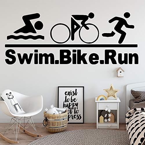 Natación romántica bicicleta corriendo pegatinas de pared pegatinas decorativas de pared habitación de los niños sala de estar arte del hogar decoración de pared decorativa A6 M 30x76cm