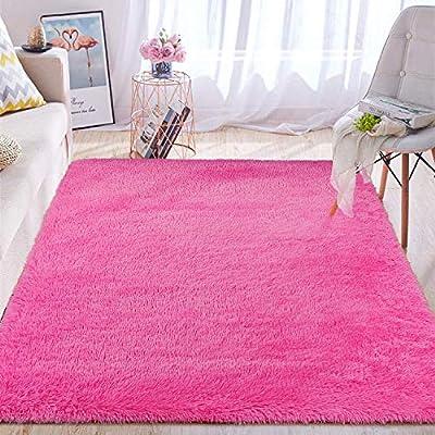 Wondo Soft Shaggy Area Rugs Modern Fluffy Bedroom Rug for Kids Nursery Girls Boys Super Comfy Shag Fur Carpets Living Room Furry Home Decor Rugs, 5.3x7.6 Feet Hot Pink
