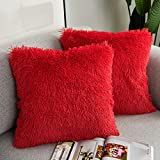 SIPEIEN 2 Packs Luxury Faux Fur Decorative Throw Pillow Cover,Soft Furry Cushion Cover Pillowcases for Couch or Bed,18x18 inch,Red
