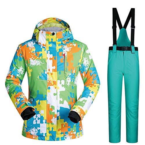 QianZhe Combinaison de Ski pour Femme, Plein Air Sport Pantalon Veste,Multi-Poches,Abrasion Coupe-Vent H-L