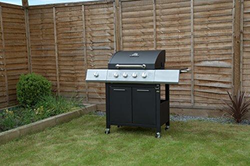 Charles Bentley 4 Burner Premium Gas BBQ plus side burner - Black
