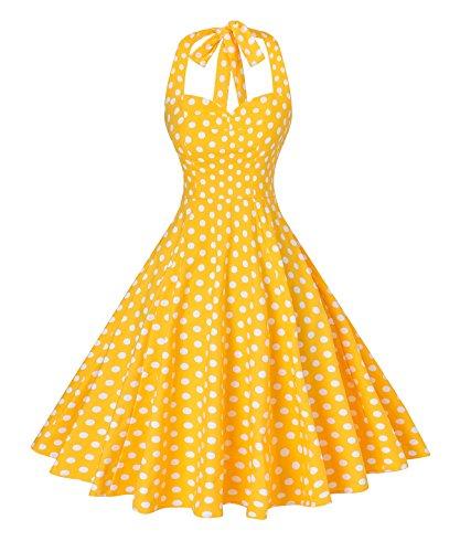 V Fashion Women 's Rockabilly 50s Vintage Polka Dots Halter Cocktail Swing Dress Yellow and White Medium