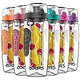 Opard Trinkflasche mit Früchtebehälter 946ml Wasserflasche mit fruchteinsatz Infuser Sports Water Bottle Tritan BPA-frei Flasche mit Rezept und Pinsel (Schwarz, 946ml)