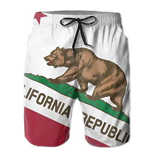 Cute Bi California Republic Fahne Herren Kordelzug Elastische Taille Schwimmen Surfen Strand Board Kurze Hose mit Taschen L