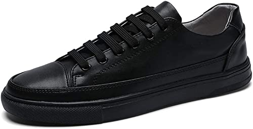 XIANGBAO-Personality Couleur Pure Simple paniers en en en Cuir Léger De Mode pour Hommes Chaussures De Sport à Lacets Style Cuir Ox (Couleur   Noir, Taille   44 EU) 909