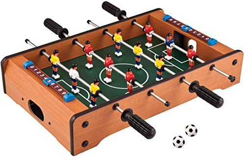 TABU TOYS WORLD Mid-Sized Foosball, Mini Football, Table Soccer Game, 4 Rods, 20 Inches (50 Cms) Brown