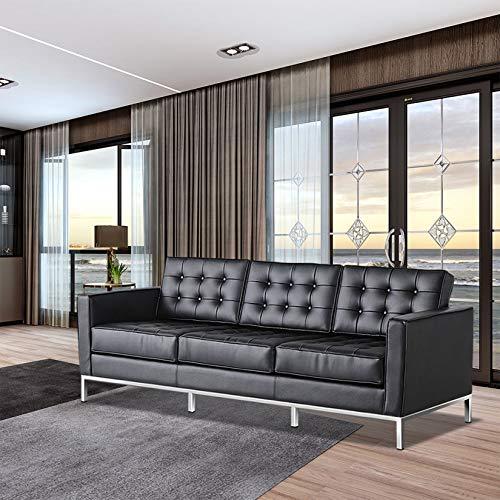 Huaishu Sofá cama de 3 plazas, de piel auténtica, color negro, moderno sofá para sala de estar, salón, oficina, habitación de invitados