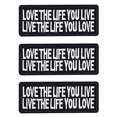 Butie.Love The Life YOULIVE Live The Life You Love Motorcycle Biker Vest Patch Sew On/Iron On Patches Patches for Jackets(3pcs-A727)