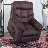Tufted Electric Lift Chair Recliner,JULYOFX 330 LB Heavy Duty Upholstery Sofa Recliner Chair Lifts You Up Stand Up Lift Chair with 2 Button Easy Remote for Elderly Adults Brown
