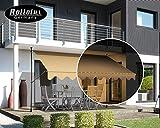 Rollolux LED Klemmmarkise Beige 350 x 120 cm Markise Balkonmarkise Sonnenschutz - mit Gestell ohne Bohren – UV-beständig - Höhenverstellbar 230-300 cm