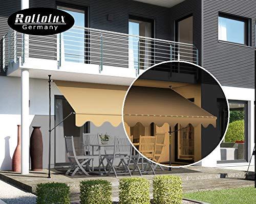 Rollolux LED Klemmmarkise Beige 300 x 120 cm Markise Balkonmarkise Sonnenschutz - mit Gestell ohne Bohren – UV-beständig - Höhenverstellbar 230-300 cm