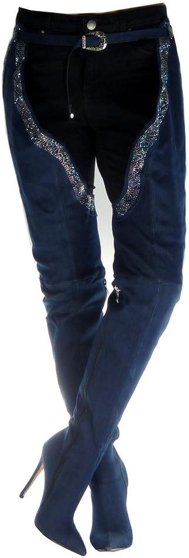 Angkorly - Damen Schuhe Oberschenkel-Stiefel Stiefel - Jeans Denim - Stiletto - Sexy - Strass - Schleife Stiletto high Heel 12.5 cm