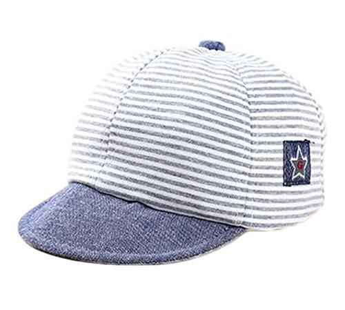 JUNGEN Unisex Streifen Baseball Kappe Kinder Sonnenschutz Hut Mütze für Baby von 1-3 Jahren Sonnenhut, Grau