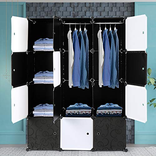 Alightup Armoire Penderie Modulable Portable Grande Capacité Storage avec Portes Étagère de Etagères Empilables Plastique Rangement Chambre Adultes pour Chaussures Vêtements Jouets Noir 12 Cubes