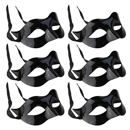 Toyvian Maschera per Travestimento Maschera per Gli Occhi Neri Maschera per Il Viso Mezza Maschera Accessorio per Costume Cosplay per Forniture per Feste di Compleanno 6 Pezzi
