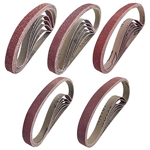 30 Stück Schleifbänder 13x457MM,Bolatus Schleifband Set je 6 x Korn 40/80/120/180/320 Aluminiumoxid Schleifbänder für Bandschleifer Schleifmaschine Schleifen Feilen Schärfen und Entrosten