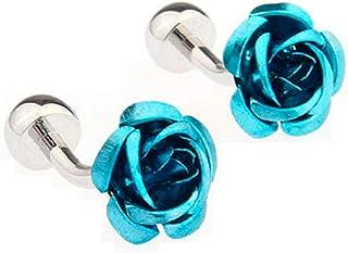 زوج أزرار أكمام من زهرة زرقاء اللون من MRCUFF في صندوق هدايا مع قطعة قماش تلميع
