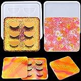 Palksky Eyelash Display Tray Resin Mold with Lid, False Eyelash Storage Box/Lash Case Epoxy Casting Silicone Mould for Eyelashes Holder Tray DIY Cosmetic Care Container