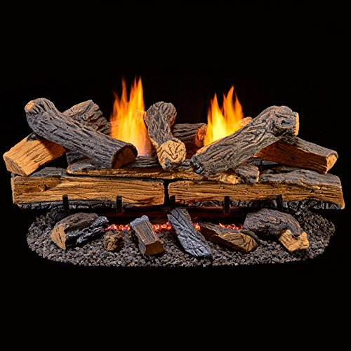 Duluth Forge Ventless Natural Gas Log Set-30 in. Split Red Oak-Manual Control, 30 Inch