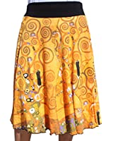 RaanPahMuang Brand Gustav Klimt The Tree of Life 3/4 Length Patch Skirt, Large