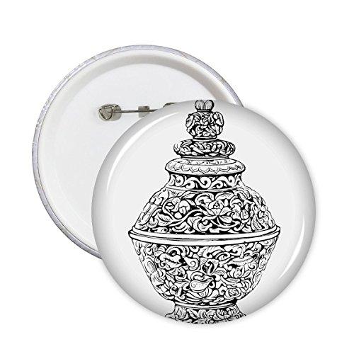 China Chinese Oude Cultuur De Qing Dynastie Vaas Lijn Tekenen Ronde Pinnen Badge Knop Kleding Decoratie Gift 5 stks XL