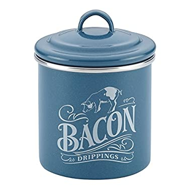 Ayesha Curry Home Collection Enamel on Steel Bacon Grease Can, 4-Inch by 4-Inch, Twilight Teal