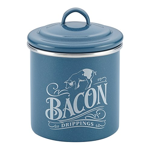 Ayesha Curry Enamel on Steel Bacon Grease Can / Bacon Grease Container - 4 Inch, Blue