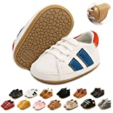 Myleleya Baby Boys Girls Sneakers Soft Sole Non Slip Rubber Sole Moccasins Toddler Crib First Walker Shoes, 1916 Wblue, 6-12 Months Infant