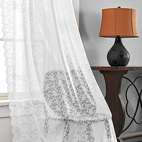 White Lace Curtains 108 inch Long-Floral Lace sheers Country Curtains Rod Pocket 2 Panel 52 W x 108 L Inch,White
