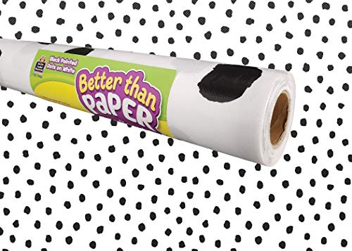 Black Painted Dots on White Better Than Paper Bulletin Board Roll