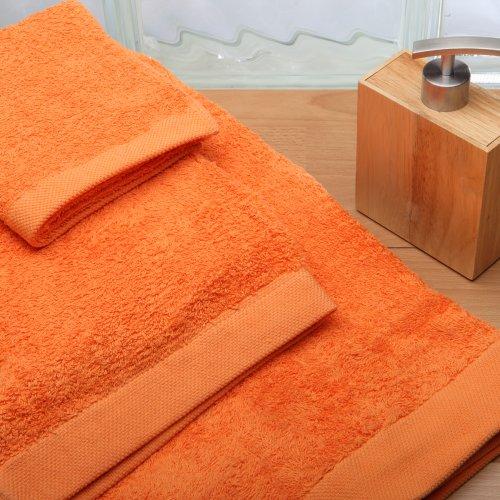 Burrito Blanco Juego de Toallas de Baño Lisas 3 Piezas (1 toalla de Ducha de 70x140 cm, 1 Toalla de Mano de 50x100 cm y 1 Toalla de Cara de 30x50 cm) Algodón 100%, Color Naranja