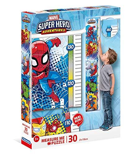 Clementoni 20337 Measure Me Puzzle 30 Teile-Marvel Superhelden, Größenmesser/Messlatte für Kinder bis 140cm
