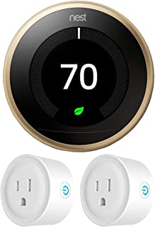 Google Nest T3032US Learning Thermostat 3rd Gen Smart Thermostat, Brass Bundle with 2-Pack Deco Gear WiFi Smart Plug
