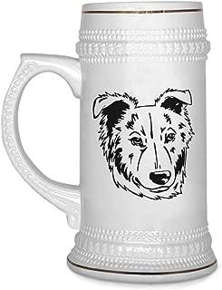 Custom Beer Mug Basque Shepherd Dog Head Black Ceramic Drinking Glasses Beer Gifts White 18 OZ Design Only