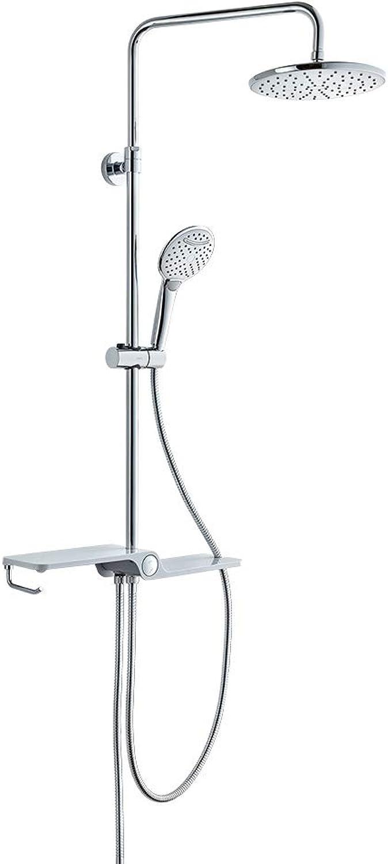(Duschsystem ohne Armatur) Duscharmatur Regendusche Duschbrause Duschset mit Regenbrause und Handbrause Duschkopf, 3 Strahlarten, Duschsule Hhenverstellbar Duschstange Dusche mit Glasablage