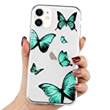 LCHULLE Girly Case for iPhone 11 Case Cute Mint Green Butterfly Pattern Design Crystal Clear Girls Women Soft TPU Rubber Shockproof Anti-Scratch Protective Case Cover for iPhone 11