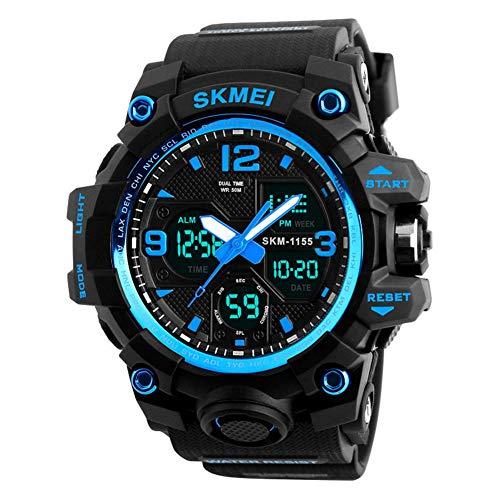 QZPM Relojes Deportivos para Hombre, Resistente Al Agua Digital Militares Relojes con Cuenta Atrás para Los Hombres Niños Grandes,LED De Analógico Relojes De Pulsera para Hombre Azul,Azul