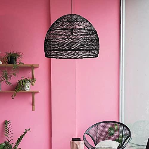 Arturesthome Design Basket Rattan Woven Pendant Light Shades, Handmade Hanging Lights Crafts Lampshade (35cm35cm, Black)