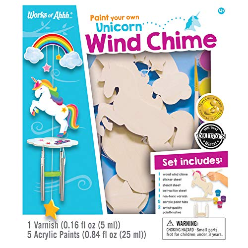 MasterPieces Works of Ahhh Real Wood Large Acrylic Paint & Craft Kit, Wind Chime with Unicorn, Mom's Choice Award, for Ages 4+