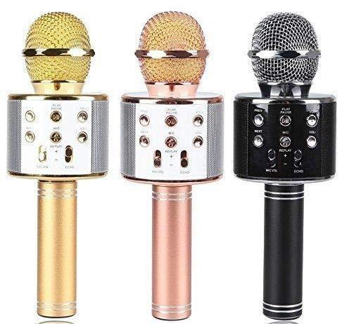 Gadgetbucket WS-858 Rechargeable Wireless Karaoke Bluetooth Microphone With Inbuilt Speaker with Audio...