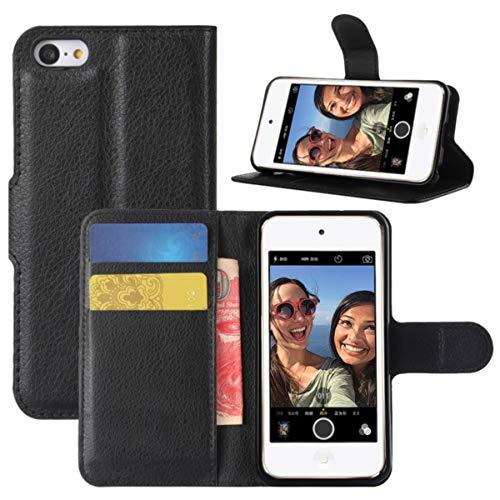 HualuBro iPod Touch 7 Hülle, iPod Touch 6/5 Hülle, Premium PU Leder Stoßfest Klapphülle Schutzhülle HandyHülle Wallet Flip Case Cover für Apple iPod Touch 7 Generation Tasche (Schwarz)