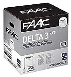 Faac Delta 3-105630445 - Kit d'automatisation pour portails coulissants jusqu'à 900kg, à usage résidentiel, avec moteur de 230V, carte électronique et paire de photocellules Safebeam incluses
