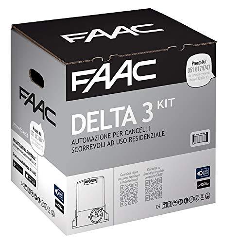 Faac Delta 3 Kit de automatización para puertas correderas de uso residencial con peso máximo 900 kg con motor 230 V – Tarjeta electrónica incluida – 1 par de fotocélulas Safebeam – 105630445