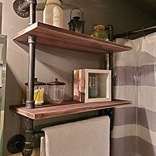 Bathroom Shelves Wall Mounted 2 Tiered,24in Industrial Pipe Shelving,Rustic Wood Shelf With Towel Bar,Black Farmhouse Towel Rack,Metal Floating Shelves Towel Holder,Iron Distressed Shelf Over Toilet