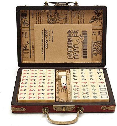 LLKK 144 PCS/Set Travel Mahjong Mah-jongg portátil para Juegos de Fiesta en casa Tiempo de Placer en Camino con Caja de Cuero arcaístico y Manual en inglés