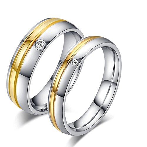 Blisfille 2 Piezas Anillo Compromiso Diamante Acero Inoxidable de Cúbicos Zirconia para Compromiso O Boda Forma Redonda Silver Oro