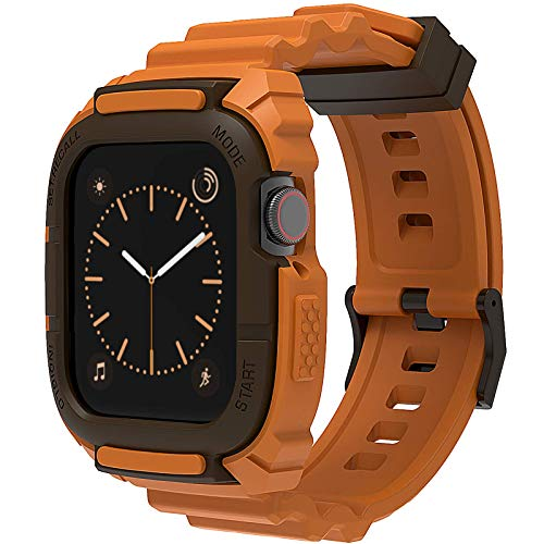 Compatibile per Cinturino Apple Watch 44 mm 42 mm, Loxoto Custodia Protettiva Resistente Agli Urti con Cinturino in TPU Adatto per iWatch 6 SE 5 4 3 Uomo Donna Sportivo Stile Militare