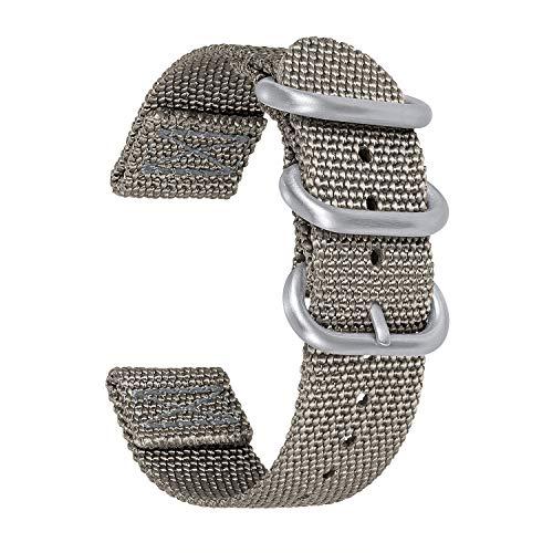 NATOベルトナイロン時計バンド BINLUN 腕時計ベルト 時計ストラップ メンズ レディース交換用ウォッチベルト 18mm 20mm 22mm 24mm ステンレススチールバックル付き 5色(ブラック、ブルー、グレー、レッド、グリーン)