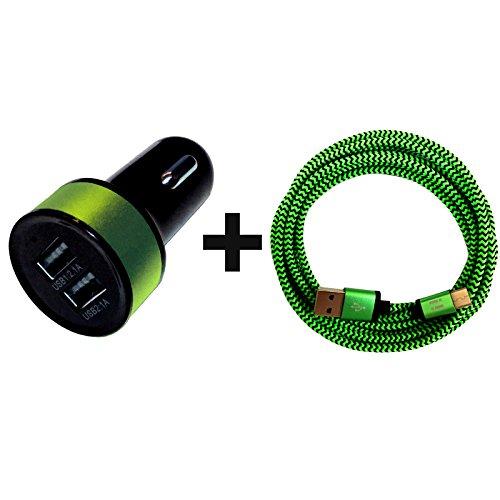 [i!®] 3.1A DUAL USB KFZ Auto Ladegerät für Zigarettenanzünder 12-24V/2x USB + 1m Premium Nylon USB-C Typ C Ladekabel Datenkabel Set kompatibel mit Allen USB-C Geräten | grün